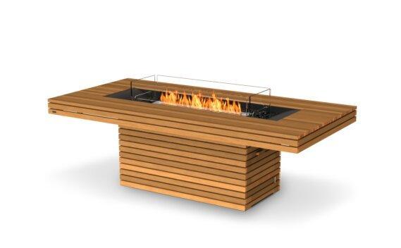 Gin 90 (Dining) Fire Pit - Ethanol / Teak / Optional Fire Screen by EcoSmart Fire