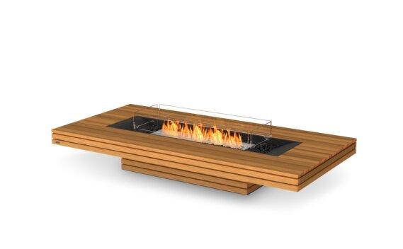 Gin 90 (Low) Fire Pit - Ethanol / Teak / Optional Fire Screen by EcoSmart Fire