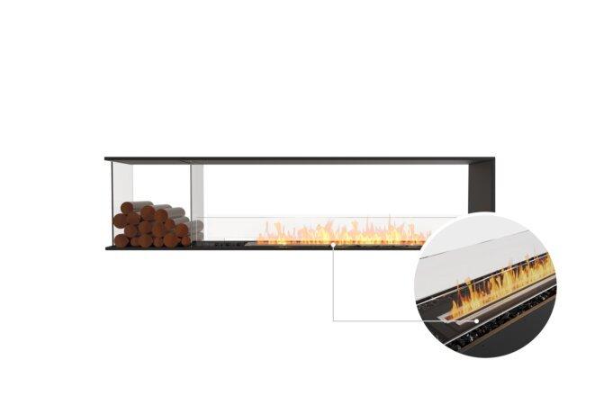 Flex 86PN.BXL Peninsula - Ethanol - Black / Black / Installed View by EcoSmart Fire