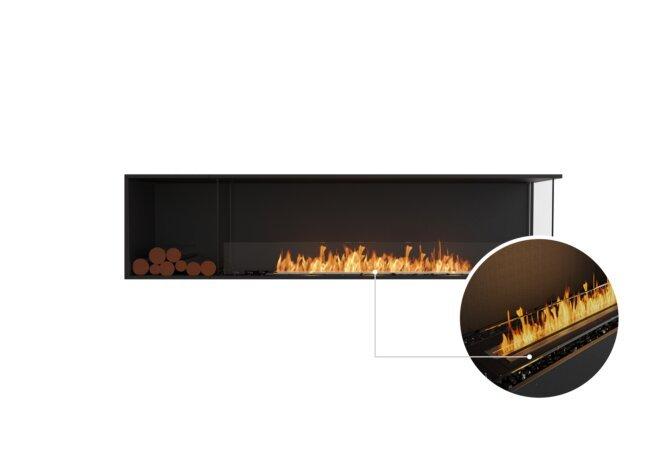 Flex 86RC.BXL Right Corner - Ethanol - Black / Black / Installed View by EcoSmart Fire