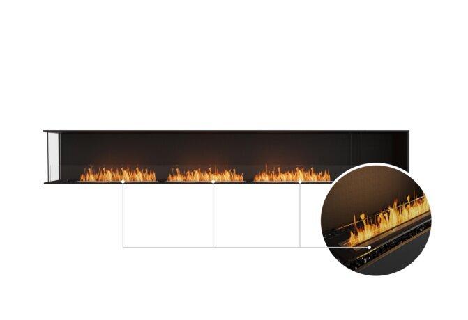 Flex 140LC.BXR Left Corner - Ethanol - Black / Black / Installed View by EcoSmart Fire